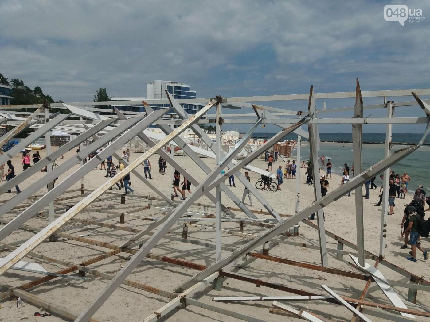 На Одесском пляже прошла акция по демонтажу незаконного сооружения, - ФОТО, ВИДЕО, фото-2