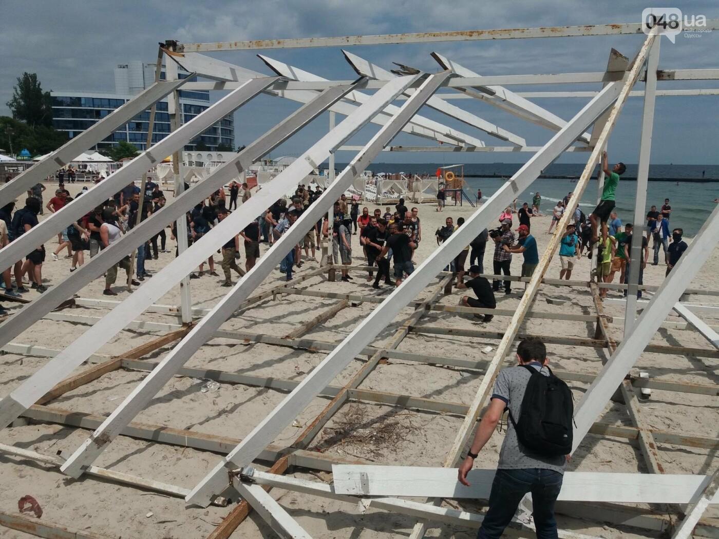 На Одесском пляже прошла акция по демонтажу незаконного сооружения, - ФОТО, ВИДЕО, фото-16