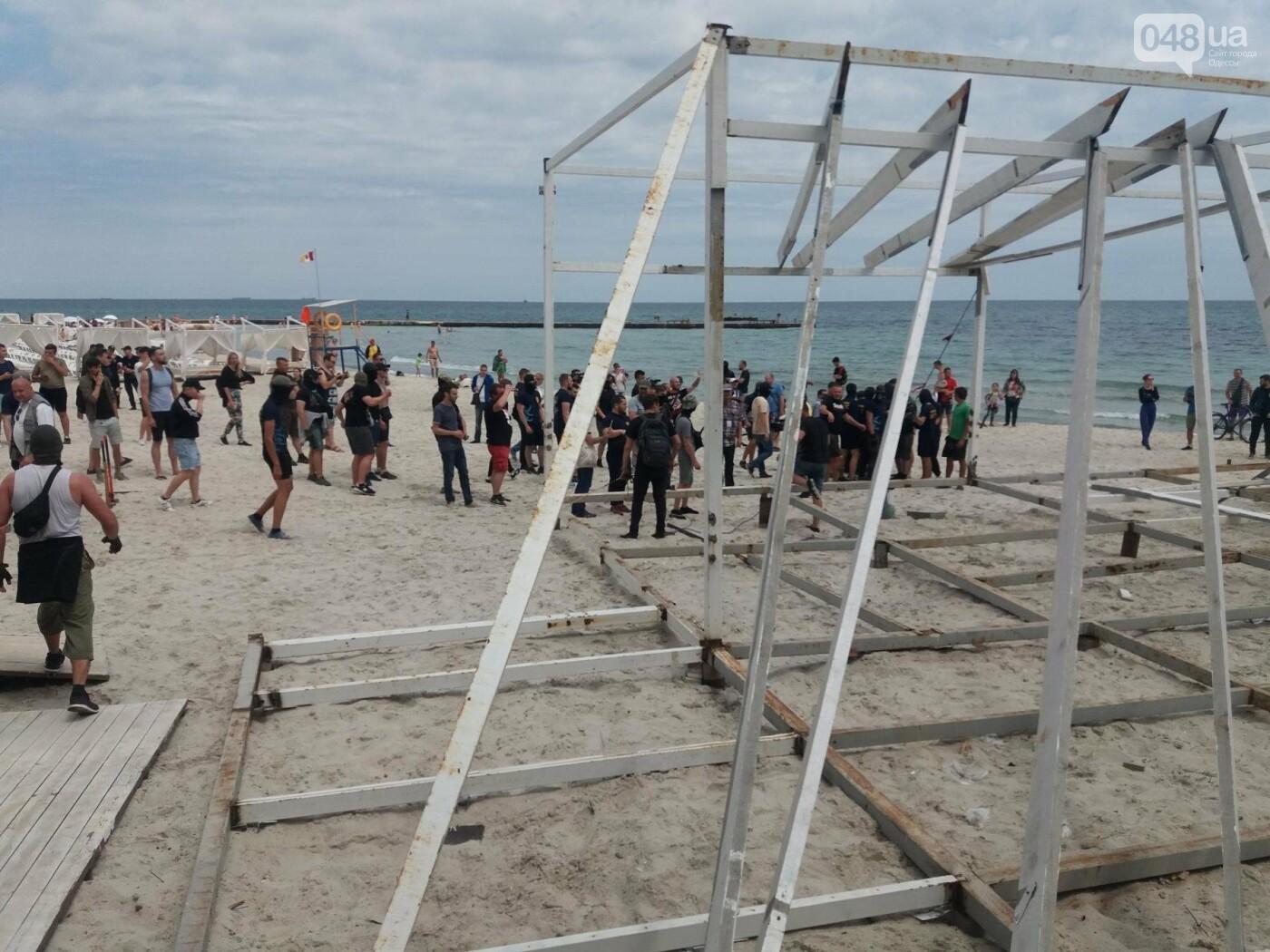 На Одесском пляже прошла акция по демонтажу незаконного сооружения, - ФОТО, ВИДЕО, фото-9