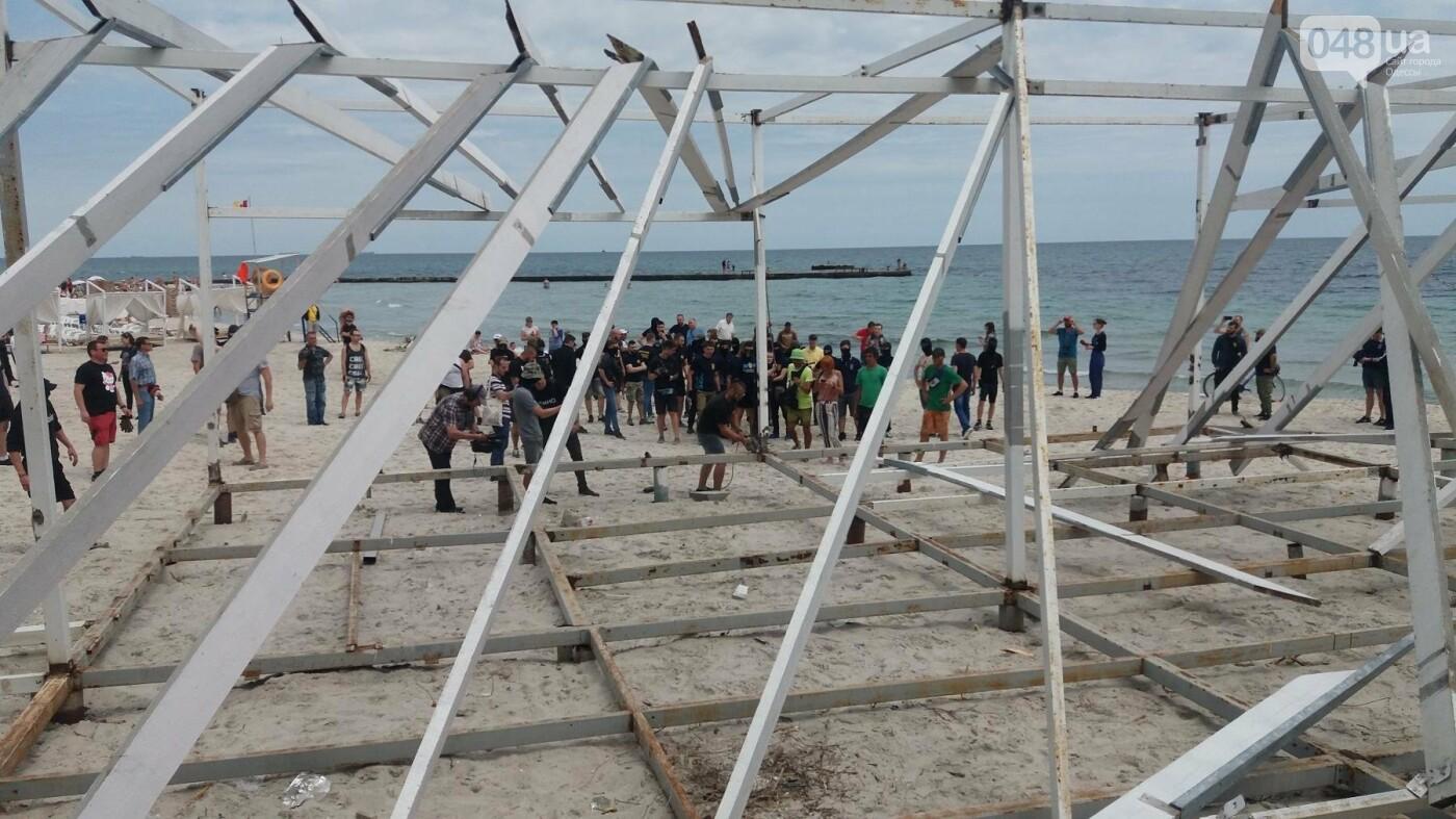 На Одесском пляже прошла акция по демонтажу незаконного сооружения, - ФОТО, ВИДЕО, фото-4