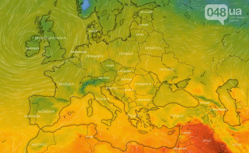 Карта температуры воздуха в Европе, на 18 октября