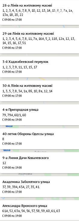 Отключение света в Одессе на 23 октября