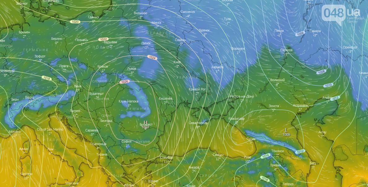 Погода в Одессе сегодня,1 декабря