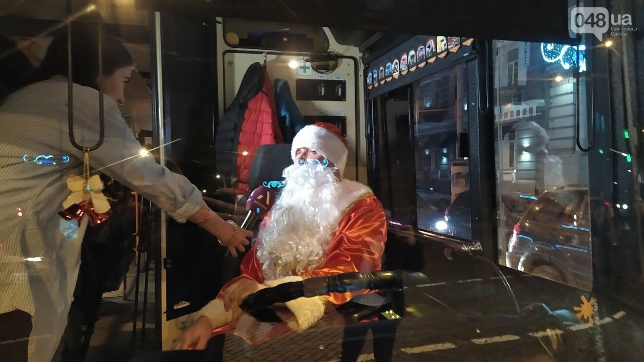 Парад новогодних троллейбусов в Одессе