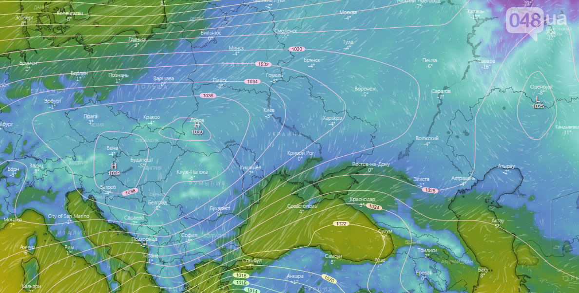 Карта погоды в Европе на 30 декабря
