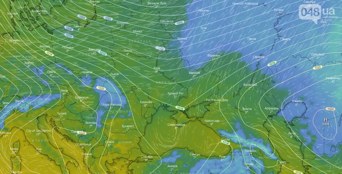 Погода в Одессе сегодня, на 4 января