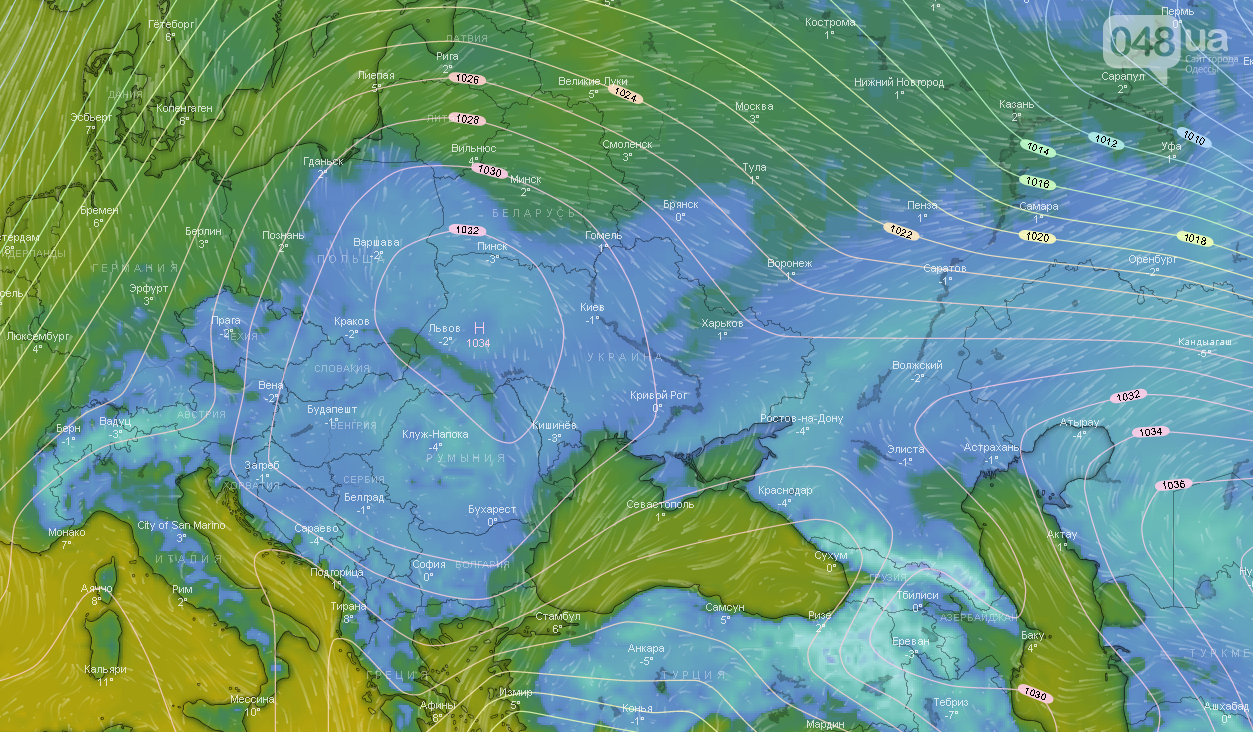 Погода в Одессе сегодня, на 17 января.