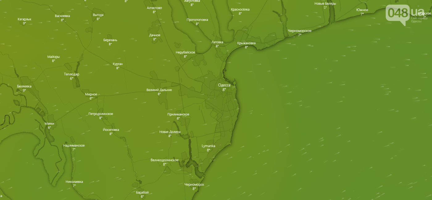 Погода в Одессе сегодня, на 22 января