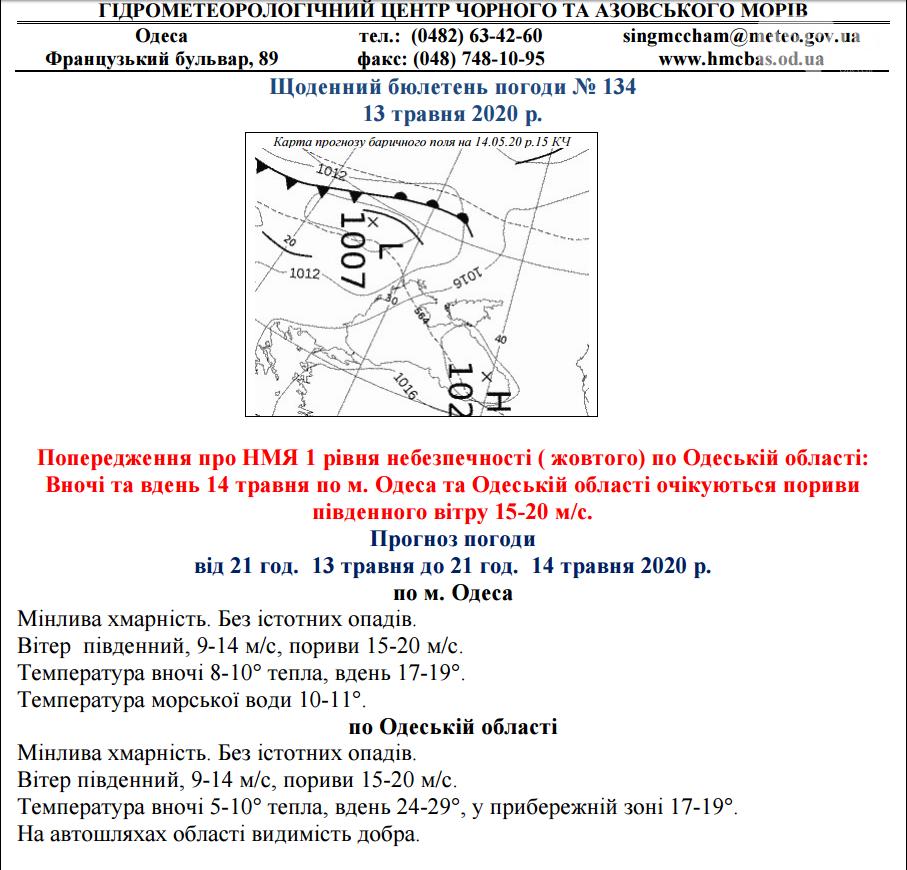 Желтый уровень опасности в Одессе., Гидрометеоцентр Черного и Азовского морей.