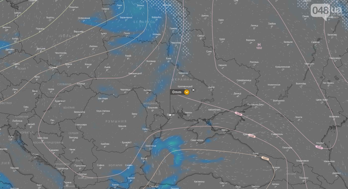 Погода в Одессе сегодня, 14 ноября., Windy.com