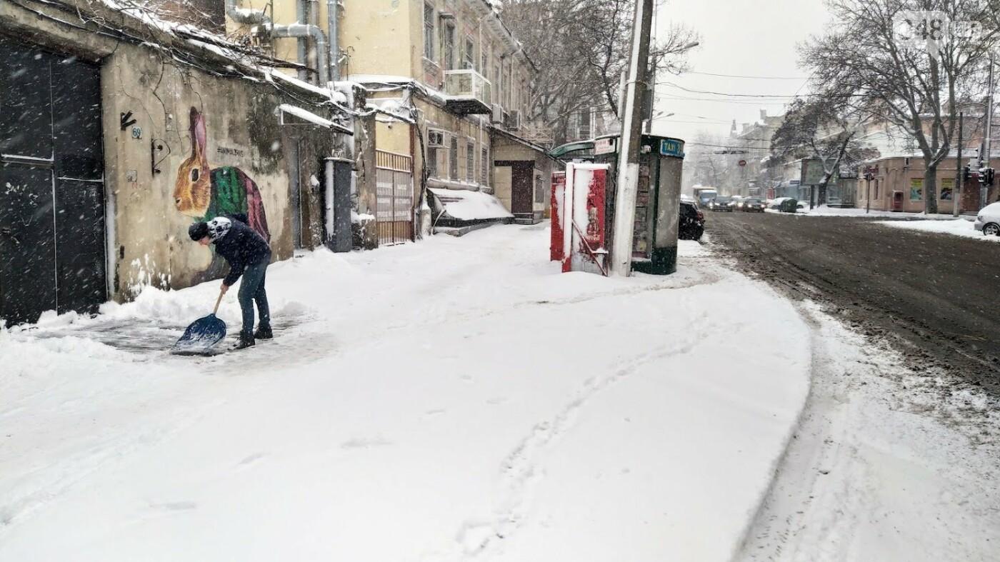 Одессу накрыло снегом: 20 кадров с заснеженных улиц города, - ФОТОРЕПОРТАЖ, фото-14, ФОТО: Александр Жирносенко