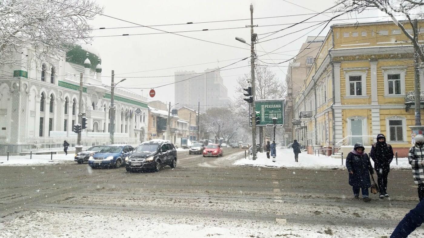 Одессу накрыло снегом: 20 кадров с заснеженных улиц города, - ФОТОРЕПОРТАЖ, фото-15, ФОТО: Александр Жирносенко