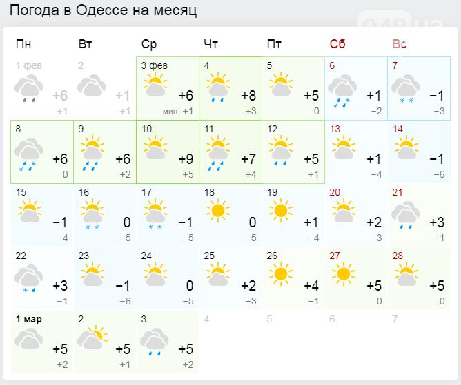 Погода в Одессе на месяц.1