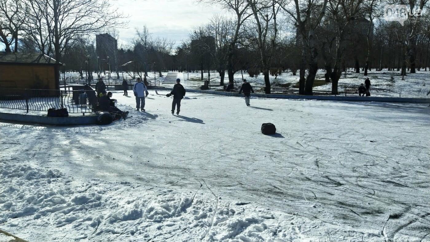 На замерзшем пруду в Одесском парке устроили спортивные состязания, - ФОТО, фото-3, ФОТО: Александр Жирносенко.