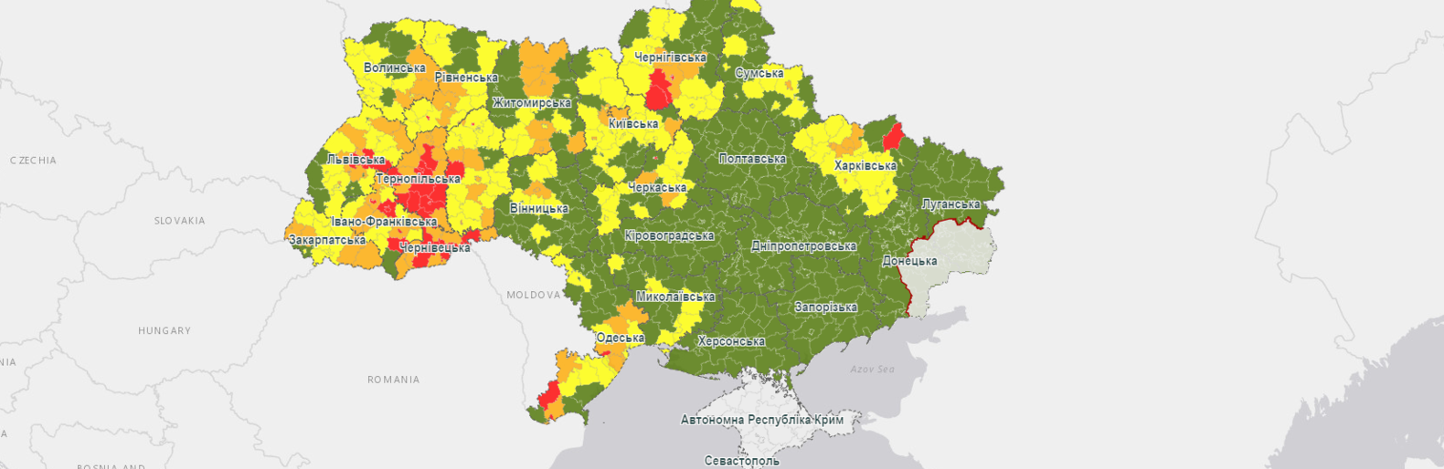 Коронавирус в Одесской области: Кабмин обновил карантинные зоны, - КАРТА0